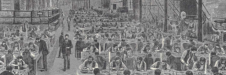 Die Gold- und Silber-Bijouterien-Fabrik von G. A. Scheid in Wien, Der große Fabriksraum, 1884