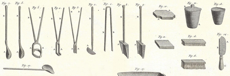 Gerätschaften für das Schmelzen von Gold, Kupferstich, 1765
